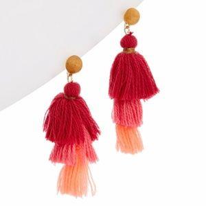 VINEYARD VINES Pink Sherbet Triple Tassel Earrings